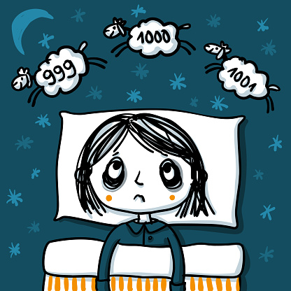 Insomnia - Woman at night who cannot fall asleep is counting sheep in a neverending spiral - sleeplessness hand-drawn vector illustration