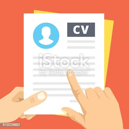 Professional cv inspection. Index finger pointing at text line in business resume. Modern flat design concepts for web banners, web sites, printed materials, infographics. Creative vector illustration