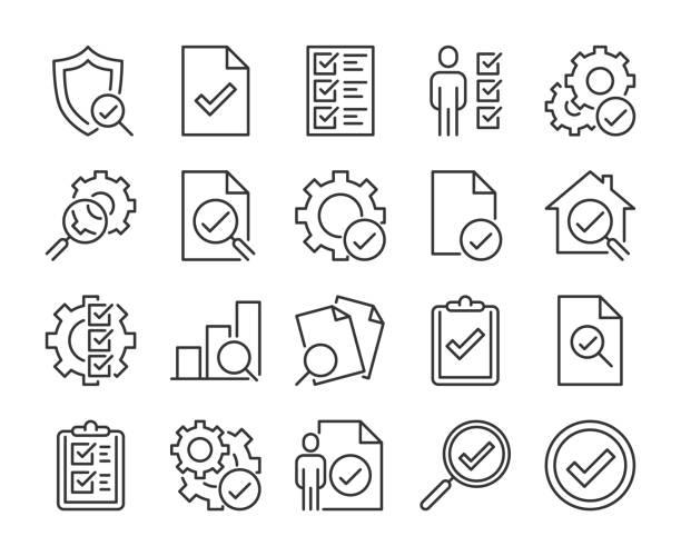 ikona inspekcji. zestaw ikon linii inspekcji i testowania. edytowalne obrys. - menadżer stock illustrations