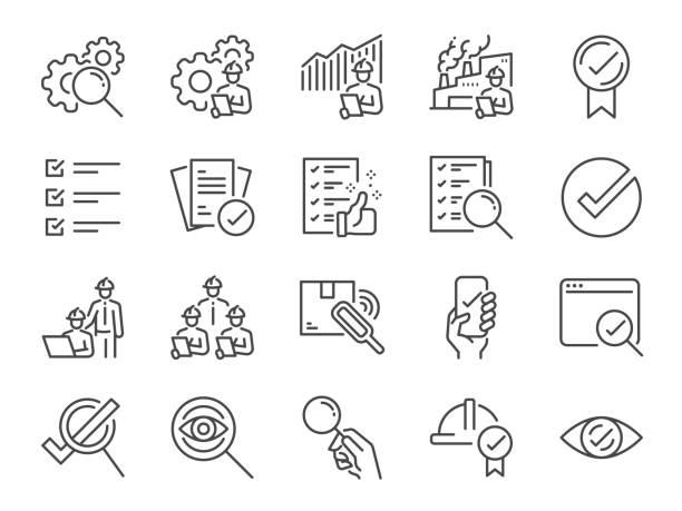 zestaw ikon linii inspekcji. zawiera ikony jako sprawdzić, qa, zakwalifikować, kontroli jakości, sprawdzić, zweryfikować i więcej. - produkować stock illustrations