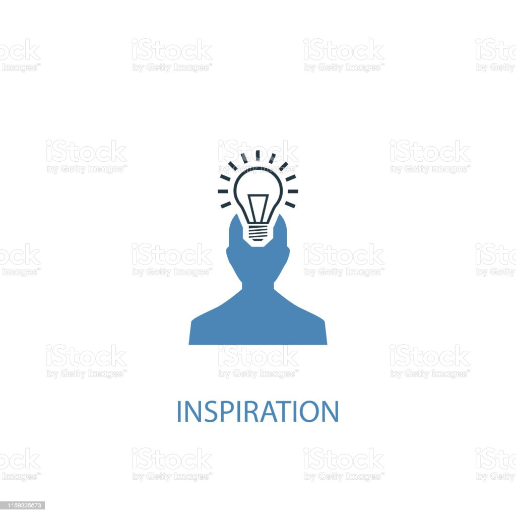 inspiration concept 2 colored icon. Simple blue element illustration....