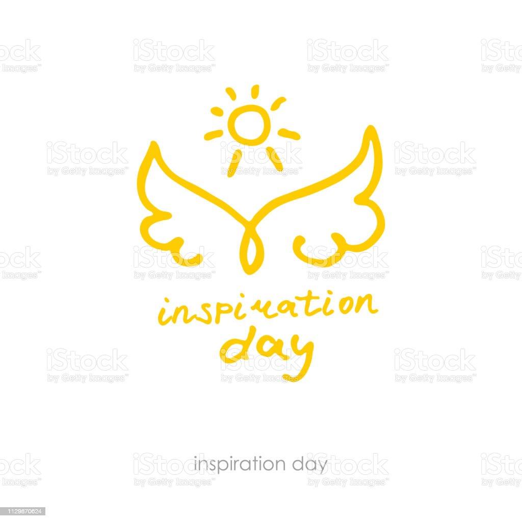Journée de l'inspiration. Logo positif dessiné à la main. Ligne art ailes et du soleil. - Illustration vectorielle