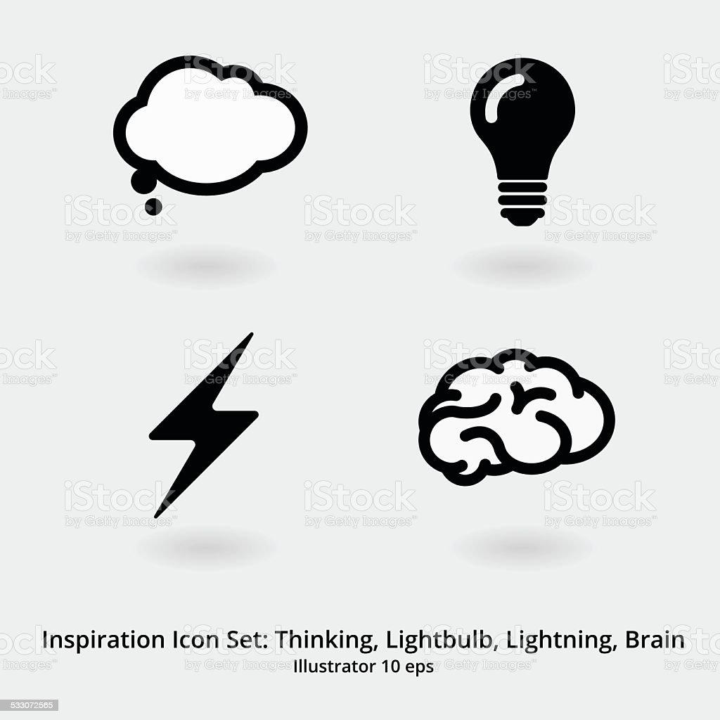 Inspiration Icon-Set: Denken, Glühbirne, Blitze und Gehirn – Vektorgrafik