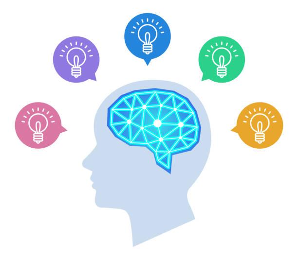 インスピレーション、アイデア、心理学、人間の脳 ベクターアートイラスト