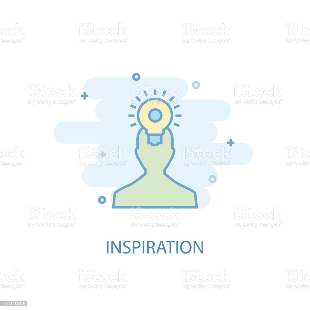 inspiration line concept. Simple line icon, colored illustration....