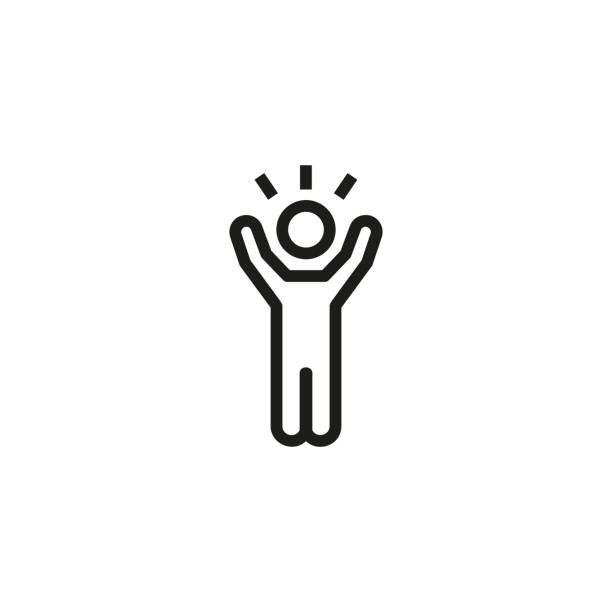 Inspiration line icon Inspiration line icon. Person, excited, screaming. Achievement concept. Can be used for topics like success, winning, expression excitement stock illustrations