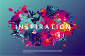 Inspiration trendy poster. Presentation cover template with abstract shapes and crystal. Modern organic surface with vibran color gradient.