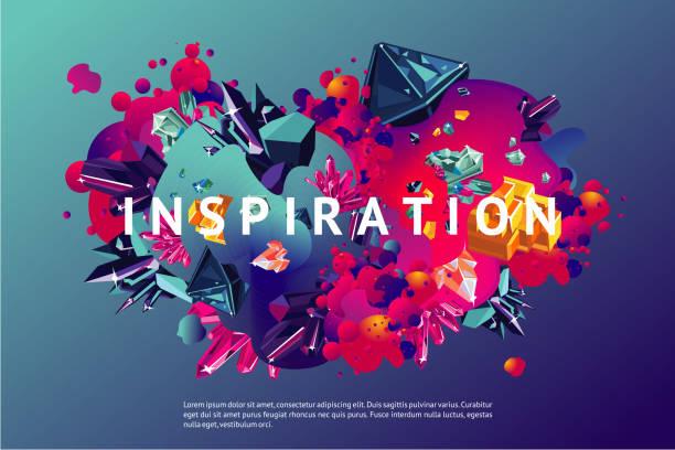 bildbanksillustrationer, clip art samt tecknat material och ikoner med inspiration trendiga affisch. - kreativitet