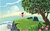 Inspired vector illustration of a young little girl arms outstretched over an blue Horizon.