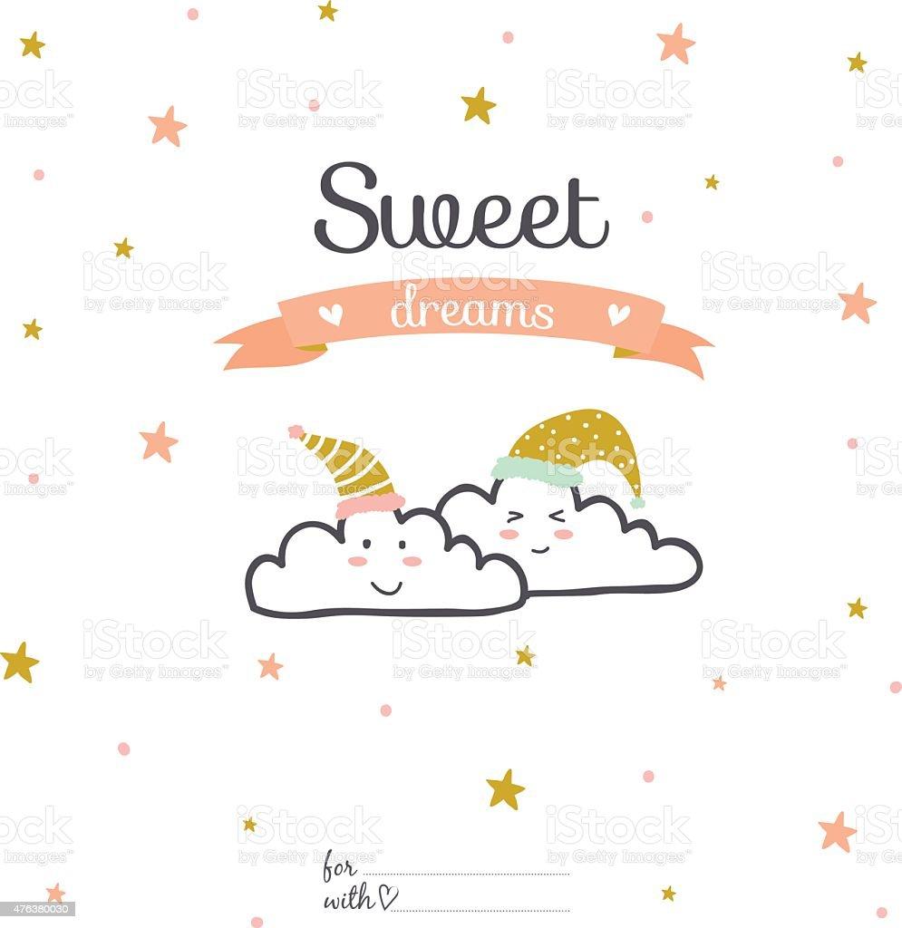 Inspiration et amour carte romantique de typographie.   Sweet dreams - Illustration vectorielle