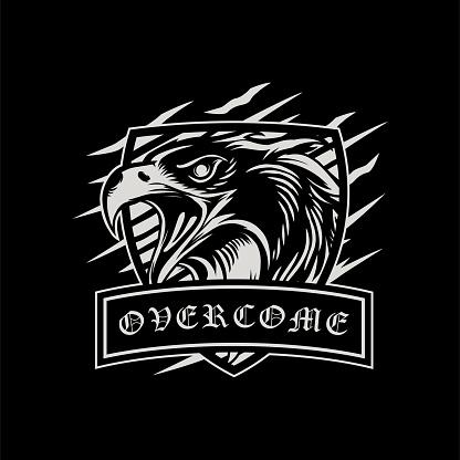 Inspirational Black And Grey Eagle Head T-shirt Design Vector Illustration
