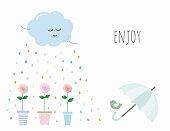 Inspirational card with cute cartoons Vector EPS10