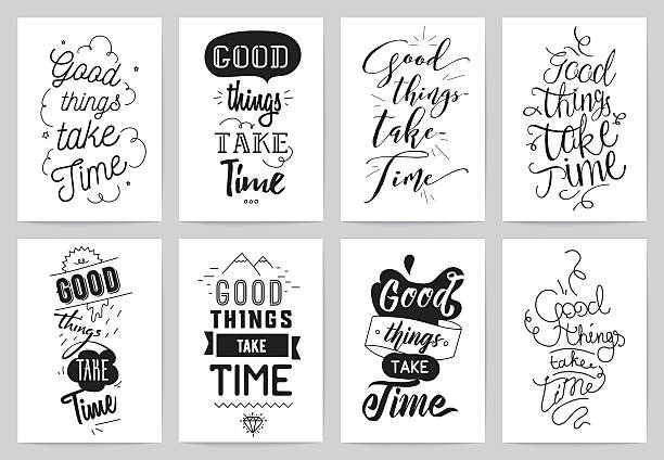 Inspirational cards 8 set. Typographical design. Lettering concept Good things take time. Typographic design. Words of wisdom. aphorism stock illustrations