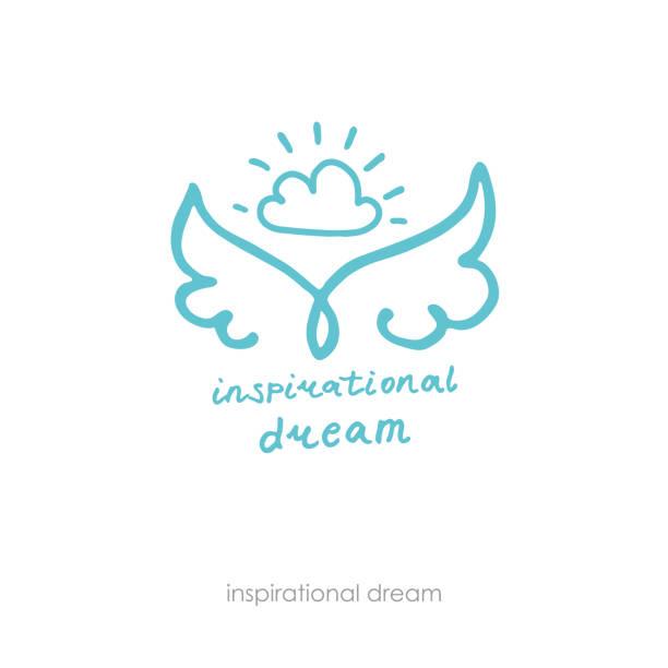 stockillustraties, clipart, cartoons en iconen met inspirerende droom. hand getekend positief logo. lijn kunst vleugels en cloud. - engel