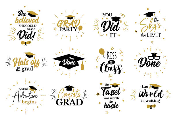 Inspirational grad party quotes to congrat graduates Congrats Graduates, class of 2019.  Motivation, inspiration and funny quotes to congratulate students. Tassel, cap, diploma icons. Lettering for college, school, academy graduation party. tassel stock illustrations