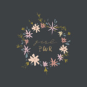Inspirational hand drawn girl power quote in the floral frame. Lettering design, flowers set. Feminism theme. Clip art