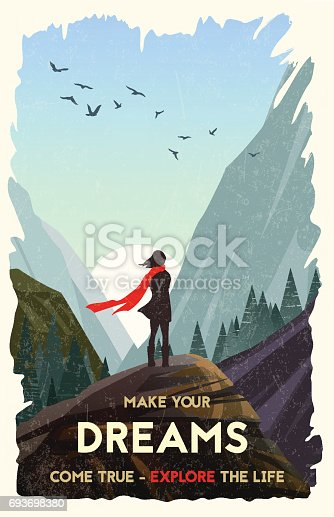 Girl standing alone on rock watching sunset in mountains. Vector Illustration