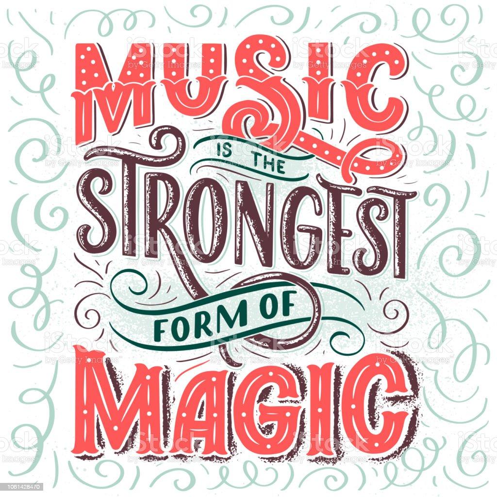 Ilustración De Inspiracional Sobre Música Mano Dibuja La