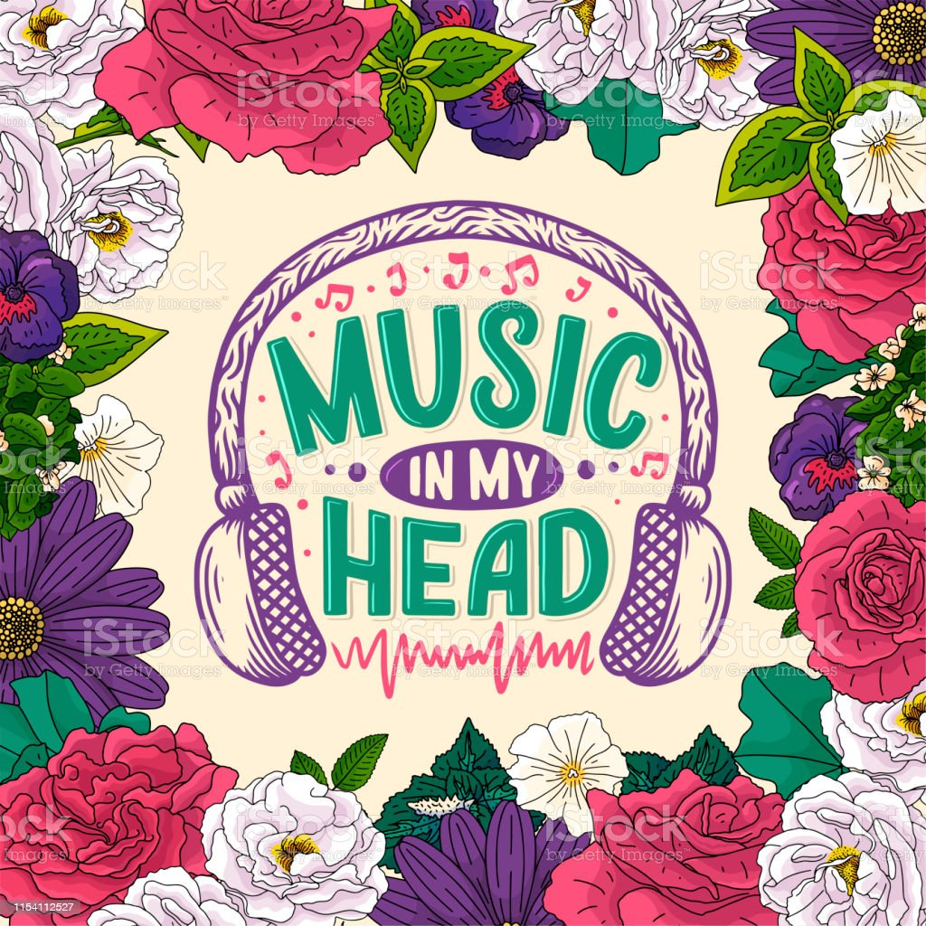 Inspirational Quote About Music Hand Drawn Vintage Illustration