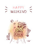 Inspirational quote. 'Happy weekend' card with rooster. Motivation phrase.