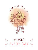 Inspirational quote. 'Music every day' card with rooster. Motivation phrase.