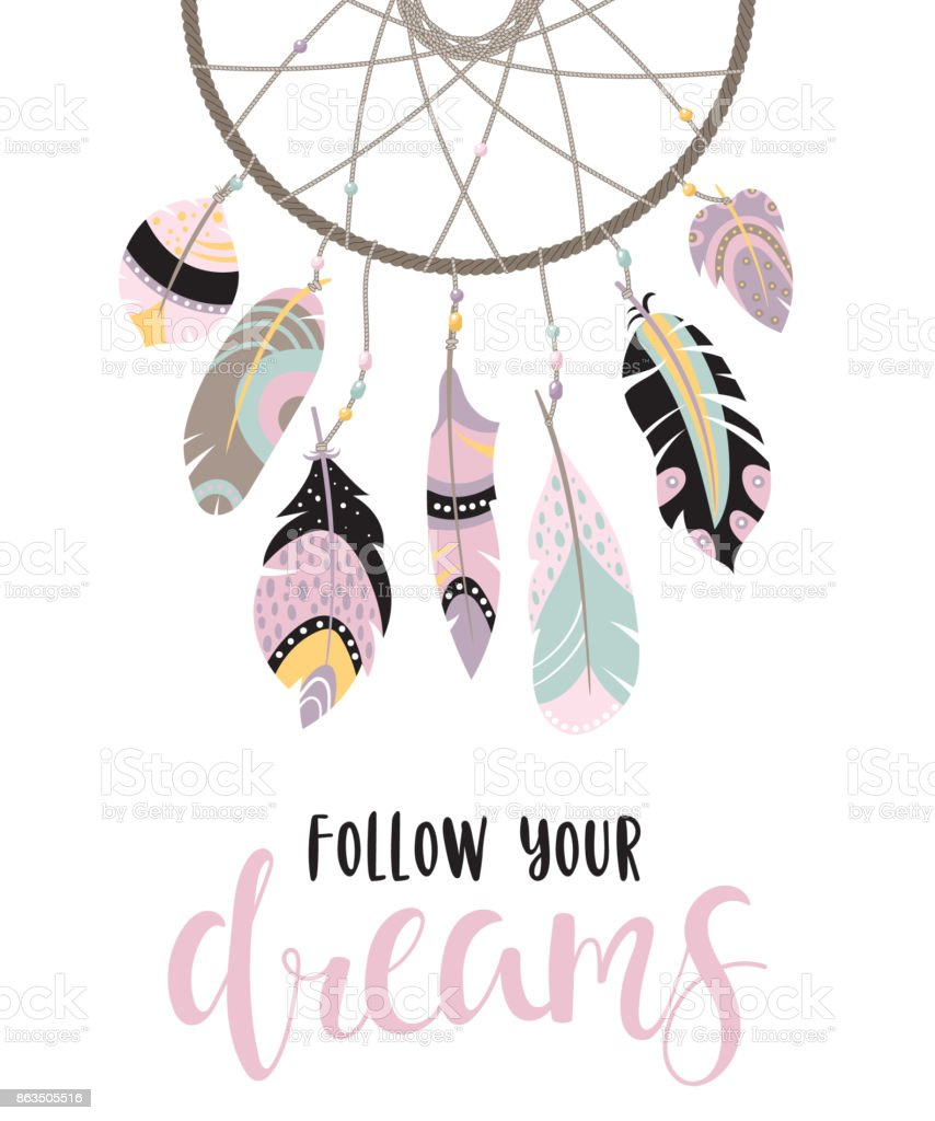 Citation inspirante avec dreamcatcher - Illustration vectorielle