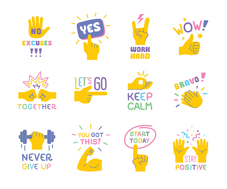 Set of positive, motivational sayings with hand emoji on white background. Editable vectors on layers.