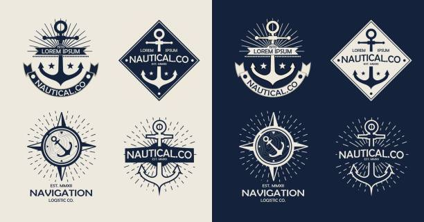 Inspirational themplate of Nautical Style Logo, Emblem Designs. Vintage sea label. vector art illustration