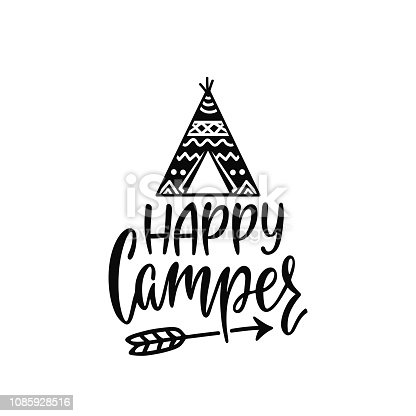 istock Inspirational vector lettering phrase: Happy Camper. Hand drawn kid poster with teepee and arrow. 1085928516