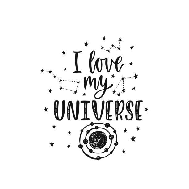 stockillustraties, clipart, cartoons en iconen met inspirerende vector belettering zin: ik hou van mijn universum. hand getekende kid poster met sterren en planeet. - baby dirty