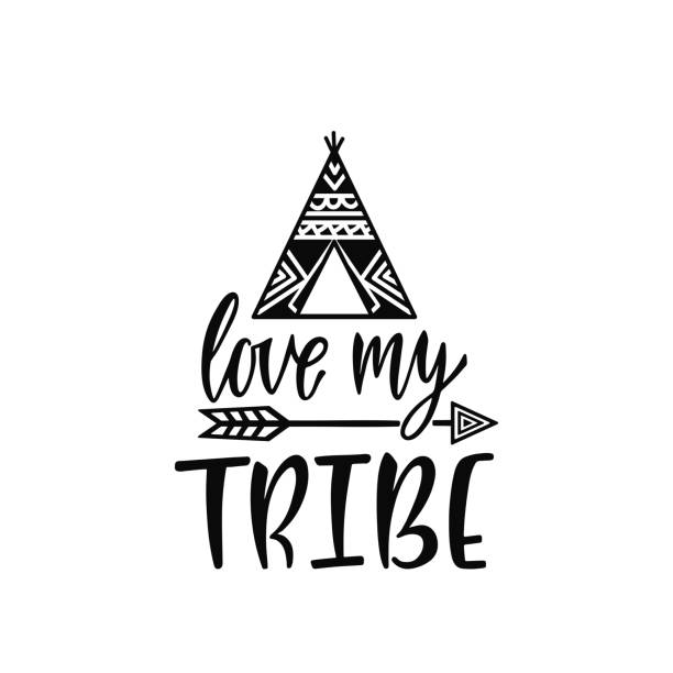 Inspirational vector lettering phrase: Love my trive. Hand drawn kid poster with teepee and arrow. Inspirational vector lettering phrase: Love my trive. Hand drawn kid poster with teepee and arrow. Typography romantic quote about adventure in scandinavian style. Illustration isolated. teepee stock illustrations