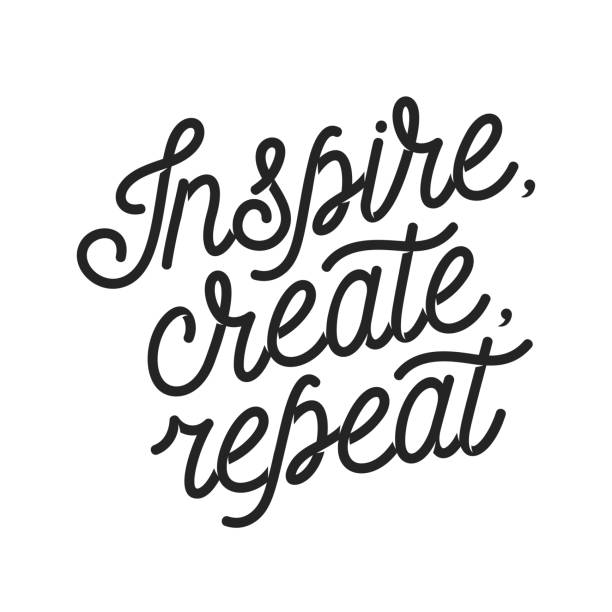Inspire create repeat motivational quote. Vintage vector lettering illustration. Inspire create repeat motivational quote. Hand crafted typography poster. Elegant text print. Vintage vector lettering illustration. motivation stock illustrations