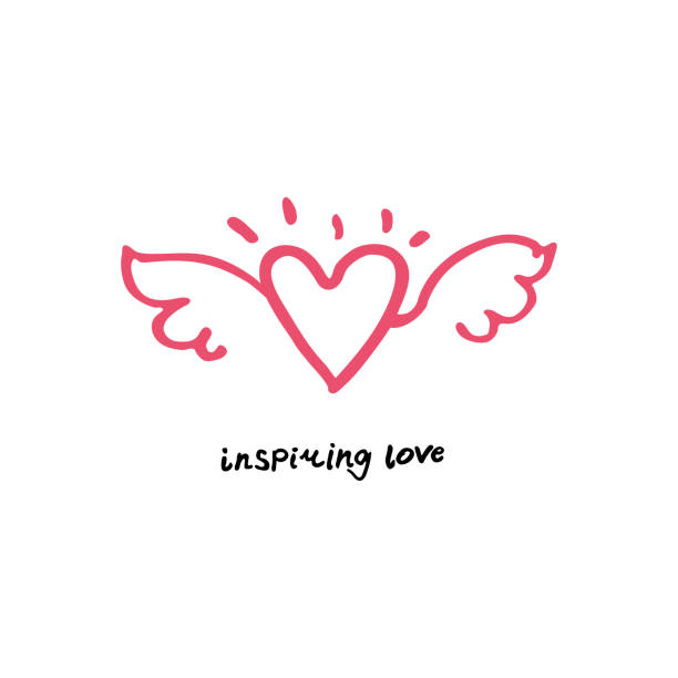 L'amour inspirant. Dessiné à la main logo ligne art ailes et coeur. - Illustration vectorielle
