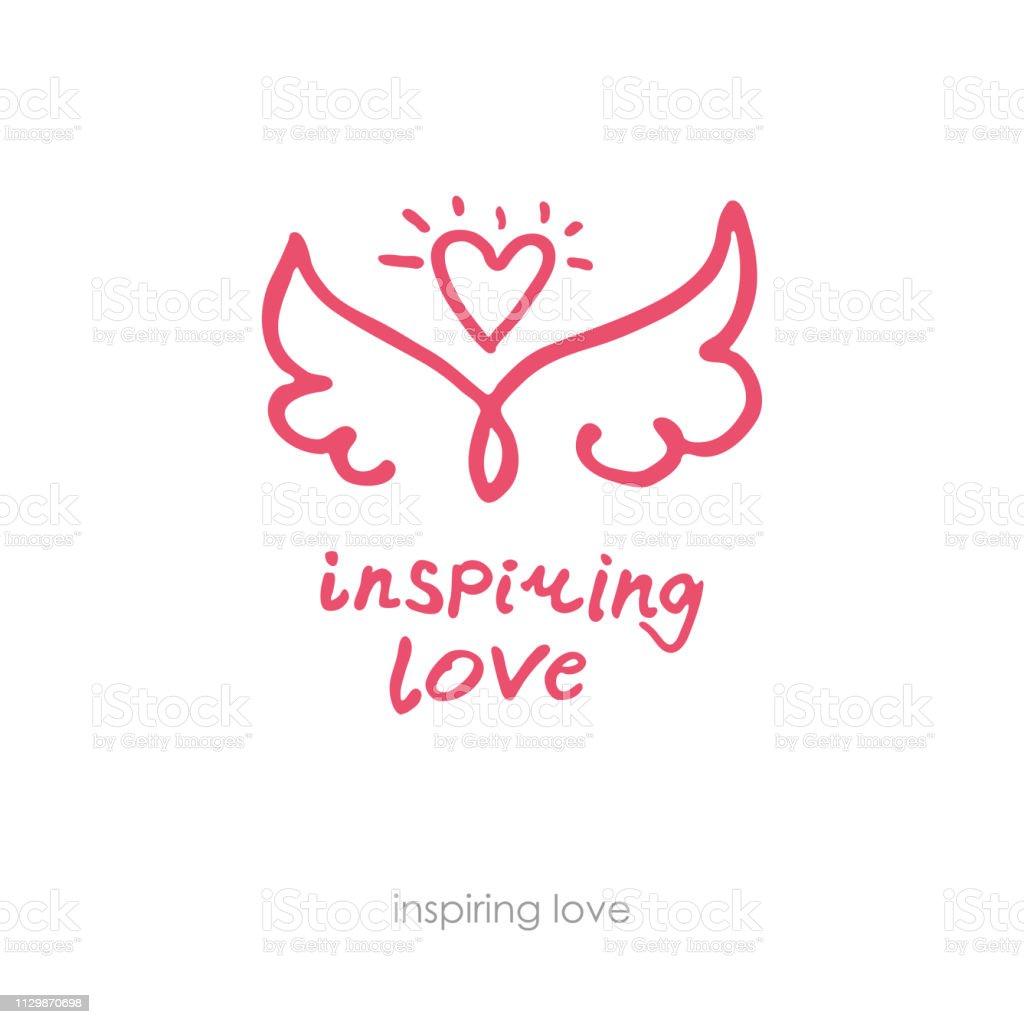 Inspirer l'amour. Logo positif dessiné à la main. Ligne art ailes et le coeur. - Illustration vectorielle