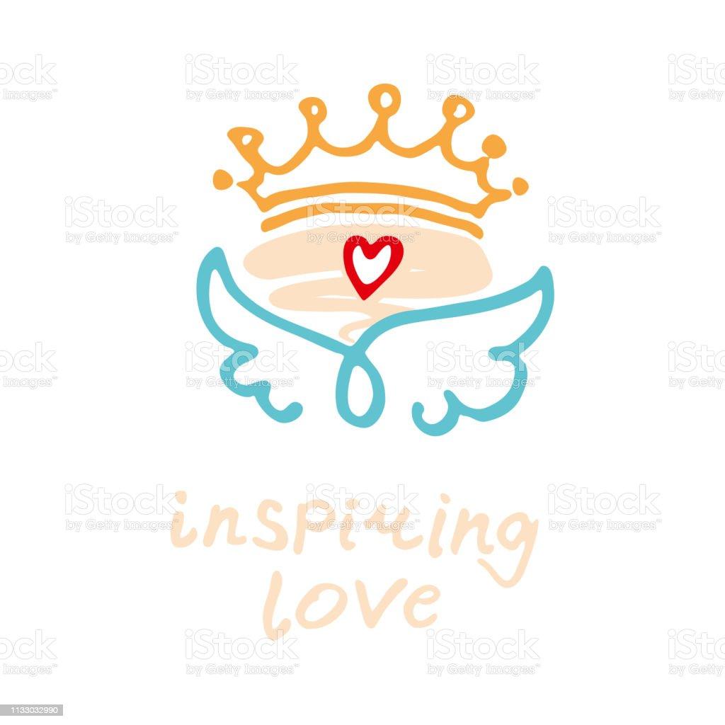 L'amour inspirant. Logo positif dessiné à la main. Ailes d'art de ligne ailes, coeur et Couronne. - Illustration vectorielle