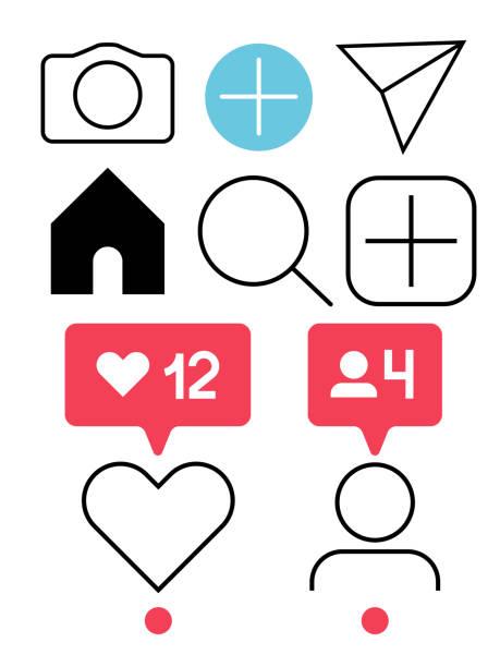 instagram icons. - instagram stock illustrations