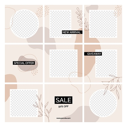Instagram seamless posts vector templates. Abstract organic shapes backgrounds with place for text, photos. Social media blog minimal design