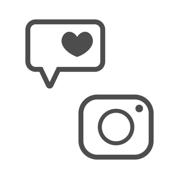знак instagram и лайки, символы социальных сетей - instagram stock illustrations
