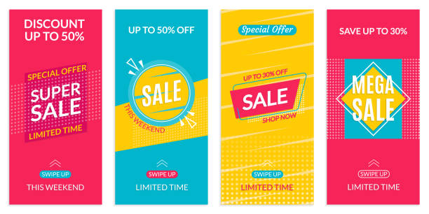 instagram stories sale banner design templates. discount frames for insta story. social media layout with swipe up button. special offer and price off coupon. vector illustration. - instagram stock illustrations