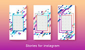 Instagram stories social media branding templates - set of three graphic mobile banners with trendy geometric layout for photo editing and ads - vector illustration