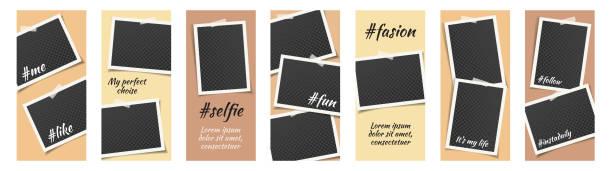 instagram stories template fashion beige vector set. - instagram stock illustrations