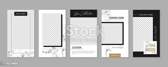 Stories vector set for social networks, minimalism and trendy style. Editable template for your posts. Marble with gold. Pack for unique content.