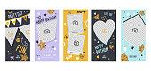 Instagram Story Happy Birthday Banner Mobile App Page Onboard Screen Set. Fun Modern Glitter Heart Star Design. Social Media Background Website or Web Page. Flat Cartoon Vector Illustration