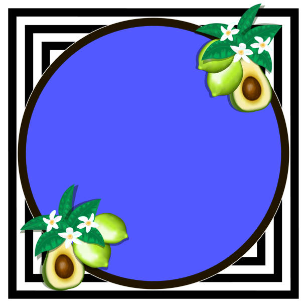 Instagram trendy photo frame Instagram trendy photo frame. Minimalistic template with realistic fruits. EPS 10 avocado borders stock illustrations
