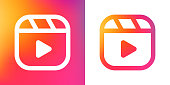 istock Instagramm reels icon, line vector illustration, gradient background 1265127040