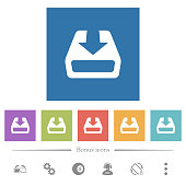 istock Install to hard drive flat white icons in square backgrounds 1152092437