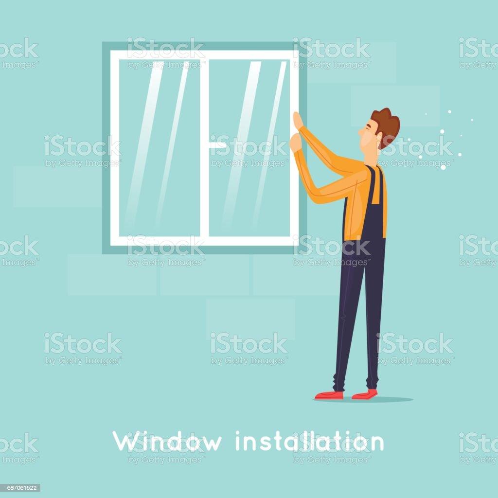 Installing windows. Flat design vector illustration. vector art illustration