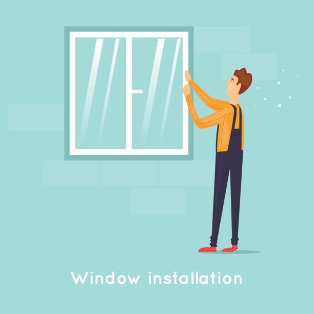 Installation von Windows. Flaches Design-Vektor-Illustration. – Vektorgrafik