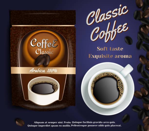 ilustrações de stock, clip art, desenhos animados e ícones de instant coffee ads vector realistic illustration - café solúvel
