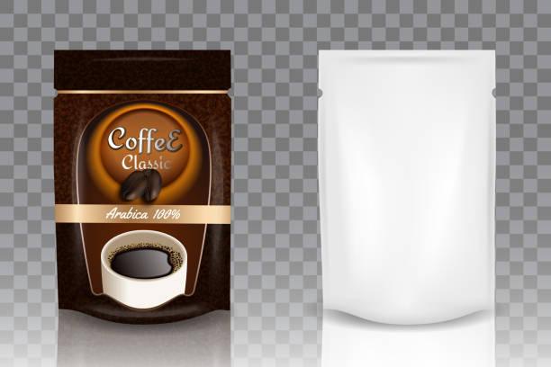 ilustrações de stock, clip art, desenhos animados e ícones de instant coffee packaging vector realistic mockup - café solúvel
